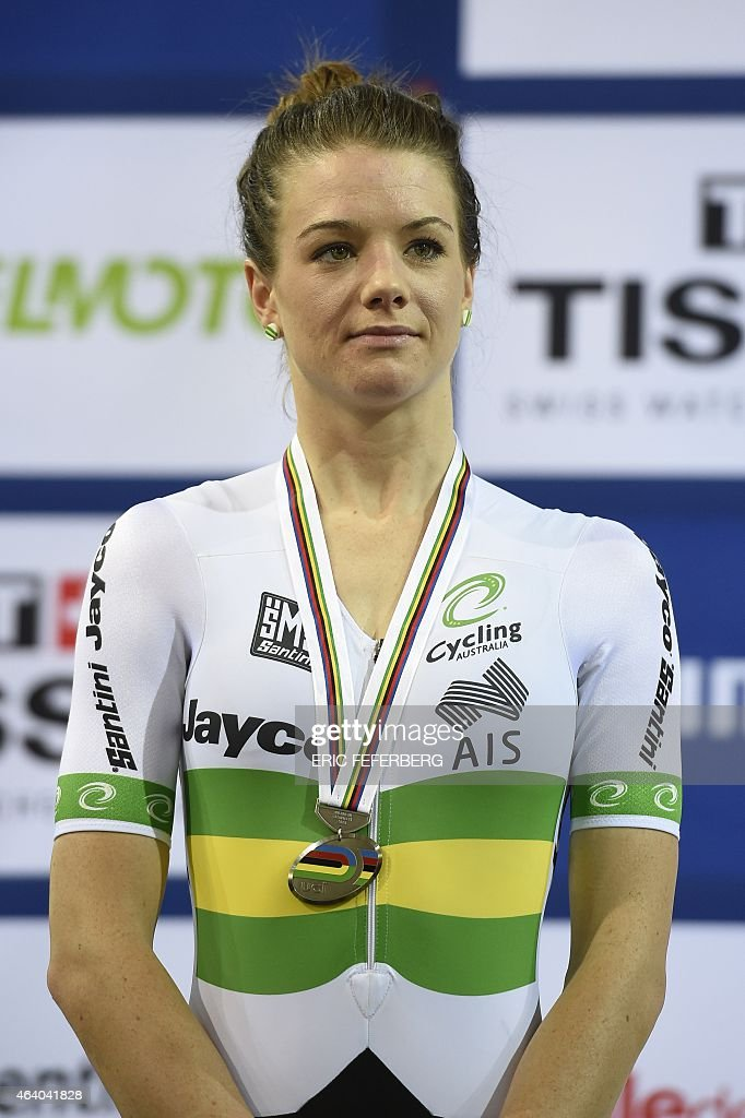 Second-placed Australia's <a gi-track='captionPersonalityLinkClicked' href=/galleries/search?phrase=Amy+Cure&family=editorial&specificpeople=5663459 ng-click='$event.stopPropagation()'>Amy Cure</a> poses on the podium after the Women's Scratch Race final at the UCI Track Cycling World Championships in Saint-Quentin-en-Yvelines, near Paris, on February 21, 2015.