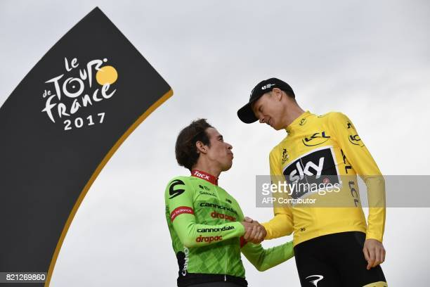 Secondplaced Colombia's Rigoberto Uran and Tour de France 2017's winner Great Britain's Christopher Froome wearing the overall leader's yellow jersey...