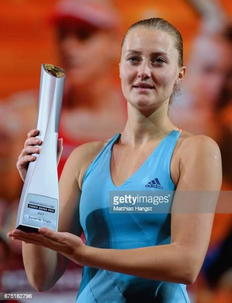 Secondplaced Kristina Mladenovic of France poses with the trophy after the singles final match against Laura Siegemund of Germany on Day 7 of the...
