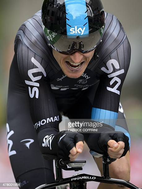 Secondplaced overall Britain's Geraint Thomas of Sky team competes in the final stage of the Tour of Switzerland UCI World Tour a 384 km individual...