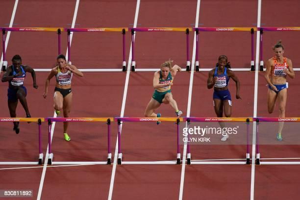 Secondplaced US athlete Dawn Harper Nelson thirdplaced Germany's Pamela Dutkiewicz winner Australia's Sally Pearson US athlete Kendra Harrison and...