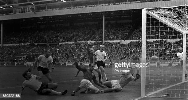 60 seconds to go and West Germany score the goal that put the World Cup Final into extra time at Wembley Wolfgang Weber Martin Peters Uwe Seeler...
