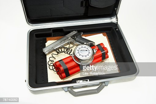 secret agent kit in suitcase stock photo getty images. Black Bedroom Furniture Sets. Home Design Ideas