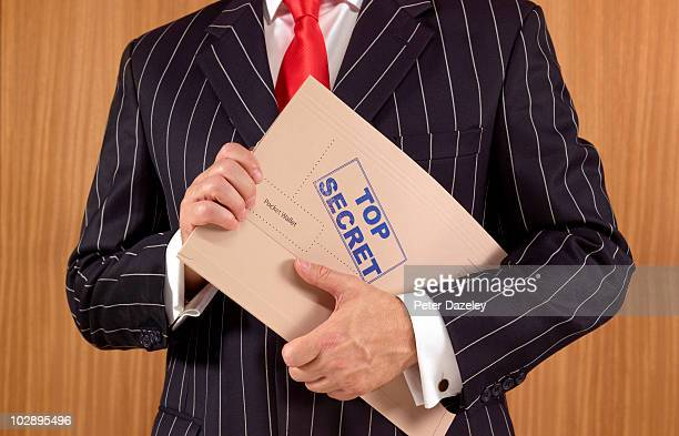 Secret agent spy with top secret file