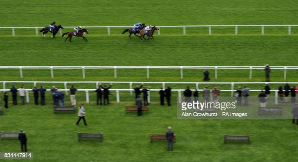 Secret Dancer ridden by Jamie Spencer go on to win The Insead MBA 1970 Maiden Stakes during the Juddmonte Lockinge Day at Newbury Racecourse