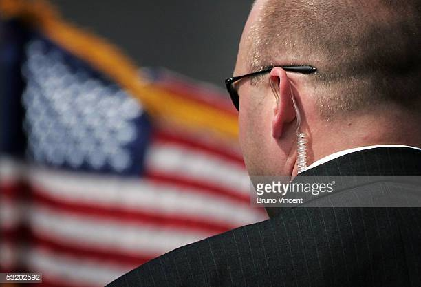 A secret service agent stands before the arrival of US President George W Bush at Prestwick Airport July 6 2005 in Prestwick Scotland Leaders of the...