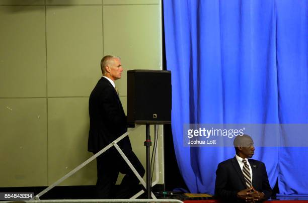 Secret Service Agents watch as US President Donald Trump addresses supporters at the Indiana State Fairgrounds Event Center September 27 2017 in...