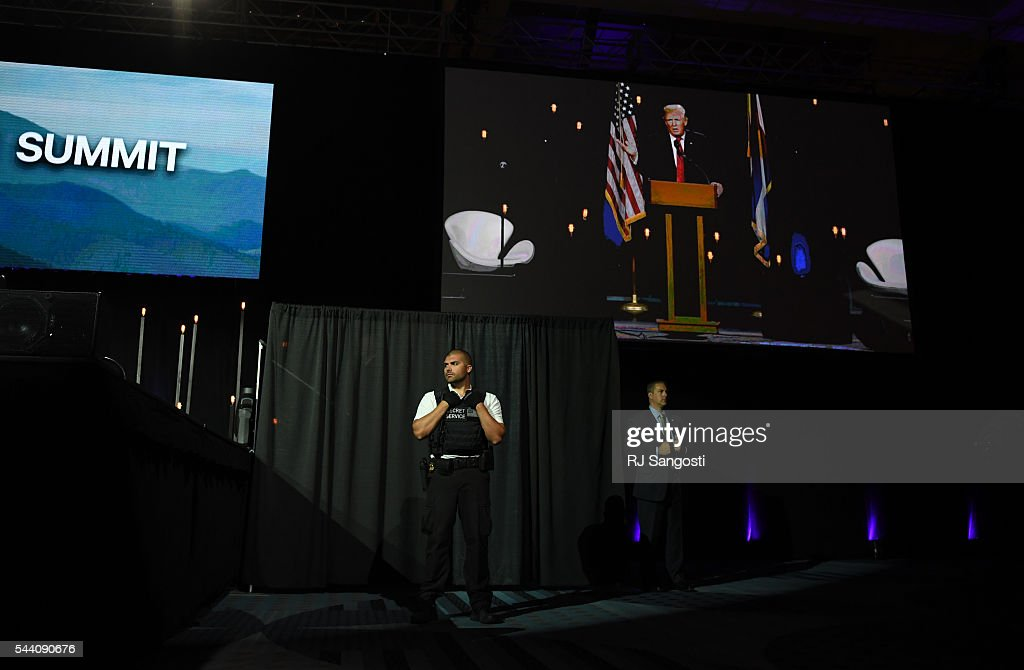 Secret service looks over the stage as Donald J. Trump speaks the 2016 Western Conservative Summit the Colorado Convention Center in Denver, July 01, 2016. It is the 7th annual Western Conservative Summit.