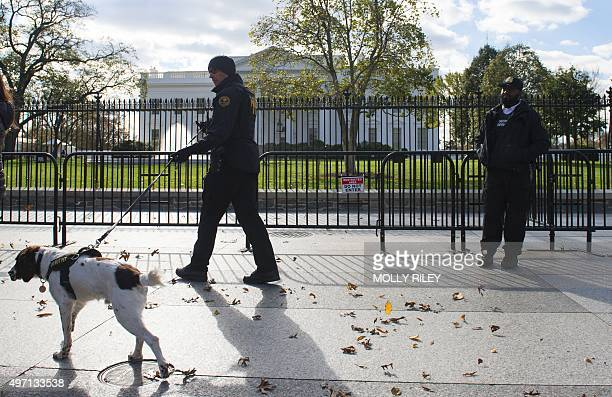 Secret Service patrol outside the White House November 14 2015 in Washington DC the day after a series of attacks on Paris resulted in the deaths of...