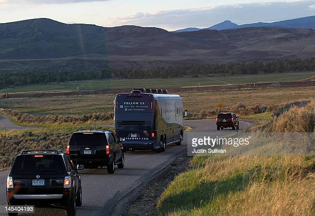 Secret Service vehicles escort the campaign bus of Republican presidential candidate former Massachusetts Gov Mitt Romney after leaving Yampa Valley...