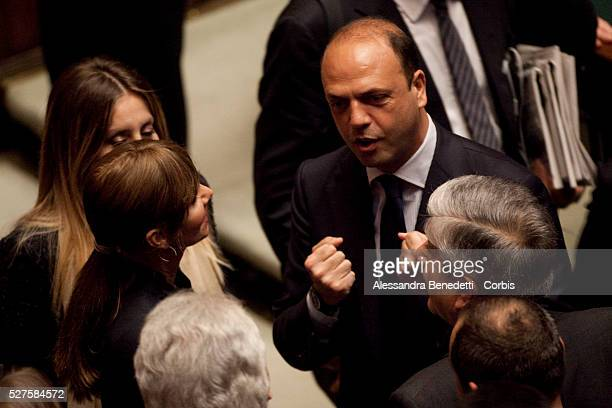 PDL Secretary Angelino Alfano during the votation of the Italian Parliament to elect the 12th President of the Italian Republic
