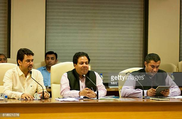 Secretary Anurag Thakur along with IPL Governing Council Chairman Rajeev Shukla and Treasurer Anirudh Chaudhary at the IPL governing council meeting...