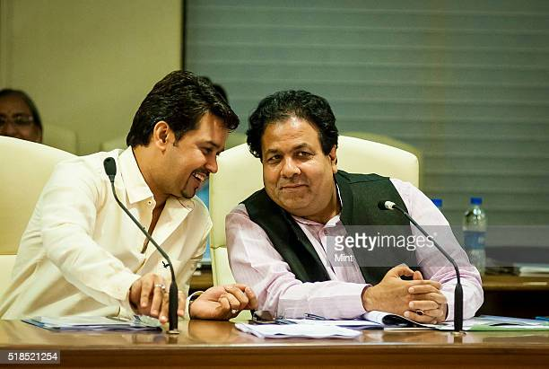 Secretary Anurag Thakur with IPL Governing Council Chairman Rajeev Shukla at the IPL governing council meeting on July 19 2015 in Mumbai India