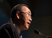 UN Secretary Ban Kimoon delivers remarks during a discussion on 'Forced Displacement A Global Development Challenge' during the IMF and World Bank...
