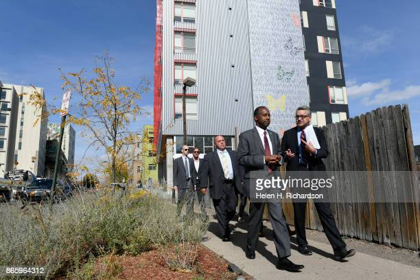 Secretary Ben Carson tours the Mariposa development the Denver Housing Authority's crown jewel for mixedincome living and urban redevelopment with...