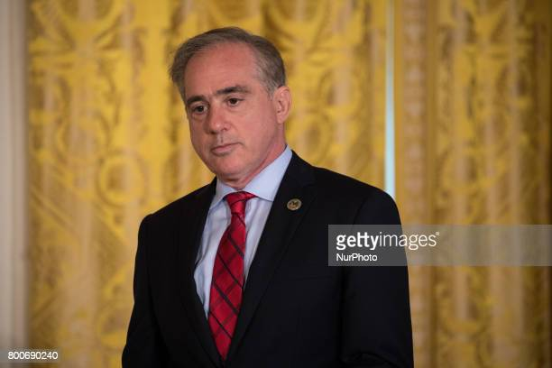 VA Secretary David Shulkin prepares to speak before President Donald Trump's signing of the Department of Veterans Affairs Accountability and...