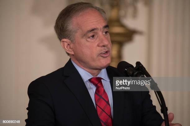VA Secretary David Shulkin speaks before President Donald Trump's signing of the Department of Veterans Affairs Accountability and Whistleblower...
