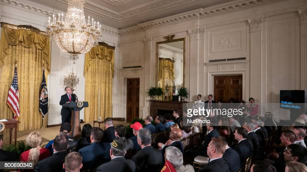 VA Secretary David Shulkin speaks before President Donald Trump's signing of the Department of Veterans Affairs Accountability and Whistleblower...