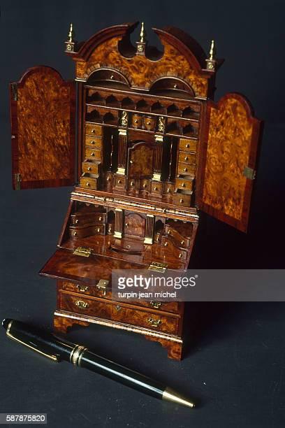 Secretary desk designed by British miniature cabinetmaker John Davenport and presented at the International Miniature Festival in Montelimar