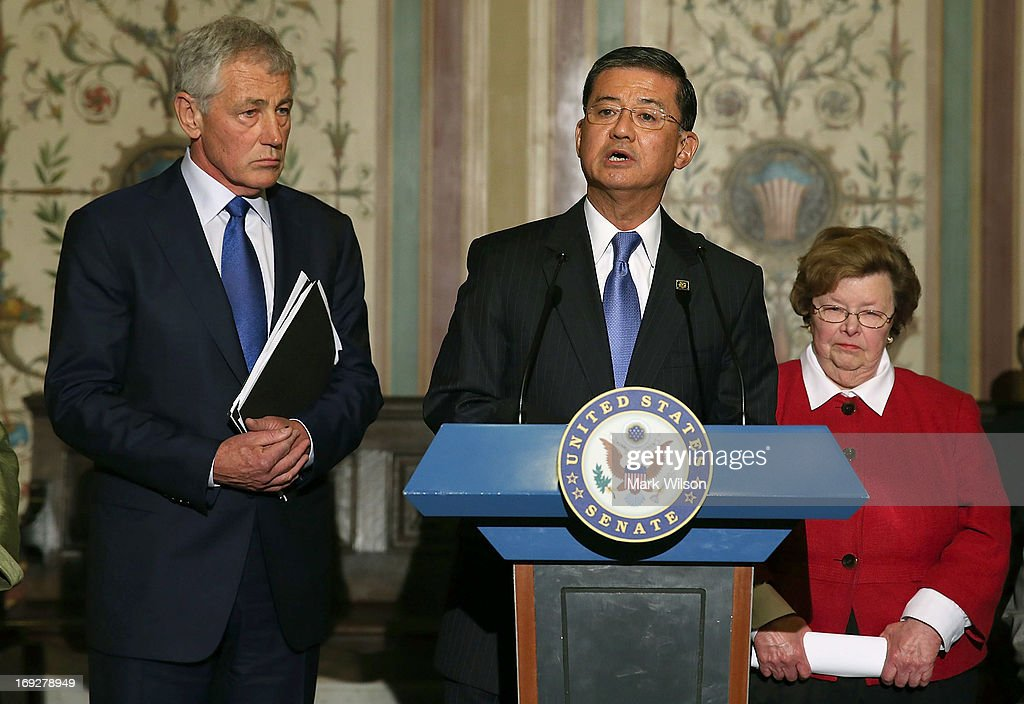 VA Secretary Eric Shinseki (C) speaks while flanked by Defense Secretary Chuck Hagel (L) and Senate Appropriations Chairwoman Barbara Mikulski (D-MD) (R) during a news conference on Capitol Hill May 22, 2013 in Washington DC. The news conference was held to provide an update on efforts to eliminate the Veterans Affairs Department claims backlog.