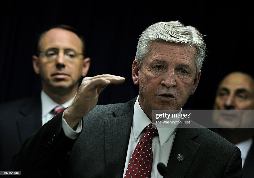 Secretary Gary D. Maynard of the Maryland Department of Public Safety and Correctional Services said that other arrests may be made as well as the possible punishment of correctional personnel implicated in the enterprise. At left is Rod J. Rosenstein, United States Attorney and at right is Gregg L. Bernstein, Baltimore City State's Attorney. The press conference was held today at the U.S. Attorney's office in Baltimore. The media conference announced the indictments of several members of the Black Guerilla Family (a prison gang) as well as some correctional officers at the Baltimore City Detention Center. Photo by Michael S. Williamson/The Washington Post via Getty Images