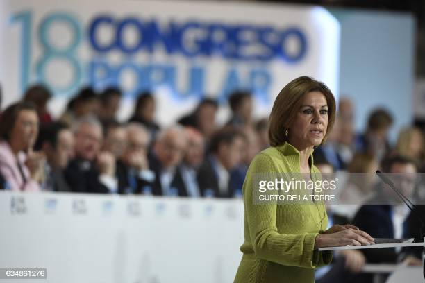 PP Secretary General and Spanish Defense minister Maria Dolores de Cospedal speaks during the closing of the the XVIII Popular Party three day...