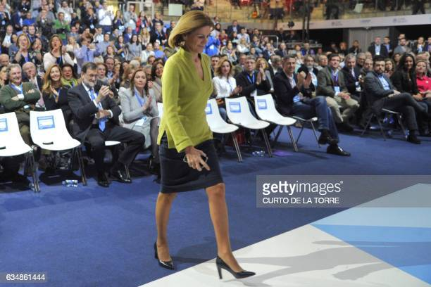PP Secretary General and Spanish Defense minister Maria Dolores de Cospedal walks to the stage during the closing of the the XVIII Popular Party...