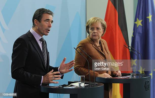 Secretary General Anders Fogh Rasmussen and German Chancellor Angela Merkel speak to the media following talks at the Chancellery on October 22 2010...