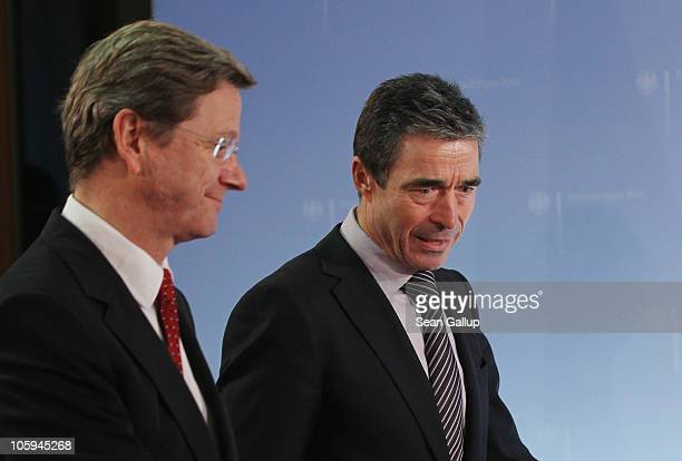 Secretary General Anders Fogh Rasmussen and German Foreign Minister Guido Westerwelle attend a brief photo op following talks at the Federal Foreign...