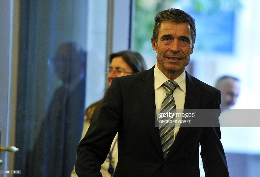 Secretary General Anders Fogh Rasmussen arrives for a press conference on May 6, 2013 at the Residence Palace press room in Brussels. 'it's very important that UN inspectors get full and free access to Syria to investigate what has actually happened and it is regrettable that so far the authorities have denied the UN such access' said the Secretary General.