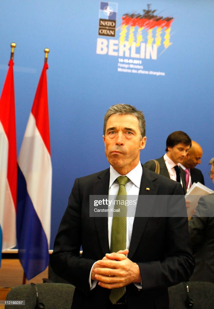 Secretary General Anders Fogh Rasmussen arrives for an informal meeting of NATO member foreign ministers on April 14, 2011 in Berlin, Germany. The principal focus of the two-day meeting will be the alliances military involvement in the war in Libya, though it also includes special roundtables on the alliances relationship to Russia, Ukraine and Georgia.