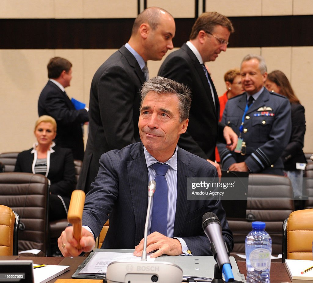 Secretary General Anders Fogh Rasmussen attends the second day of the NATO Defense Ministers meeting at NATO headquarters in Brussels, Belgium on June 4, 2014.