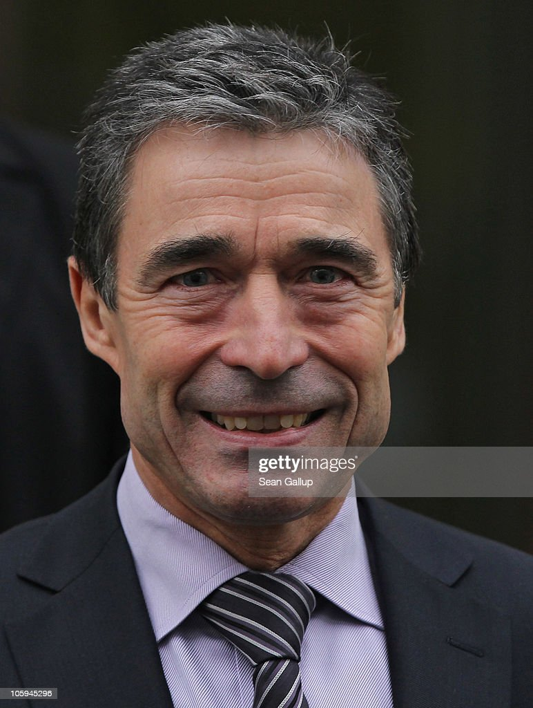 Secretary General <a gi-track='captionPersonalityLinkClicked' href=/galleries/search?phrase=Anders+Fogh+Rasmussen&family=editorial&specificpeople=549374 ng-click='$event.stopPropagation()'>Anders Fogh Rasmussen</a> departs after meeting with German Foreign Minister Guido Westerwelle at the Federal Foreign Office on October 22, 2010 in Berlin, Germany. Ramsussen is in Berlin to meet with Westerwelle and German Chancellor Angela Merkel ahead of the upcoming NATO summit in Lisbon, scheduled for November 19-20.