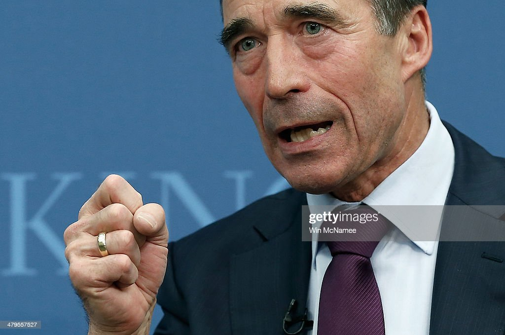 Secretary General <a gi-track='captionPersonalityLinkClicked' href=/galleries/search?phrase=Anders+Fogh+Rasmussen&family=editorial&specificpeople=549374 ng-click='$event.stopPropagation()'>Anders Fogh Rasmussen</a>, former prime minister of Denmark, speaks at the Brookings Institution March 19, 2014 in Washington, DC. Rasmussen spoke on the topic of 'The Future of the Alliance: Revitalizing NATO for a Changing World' as the United States. and allies in Europe confront new challenges, particularly the crisis in Crimea and Ukraine.