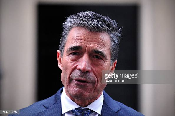 Secretary General Anders Fogh Rasmussen gives a press briefing following a meeting with British Prime Minister David Cameron in Downing Street...