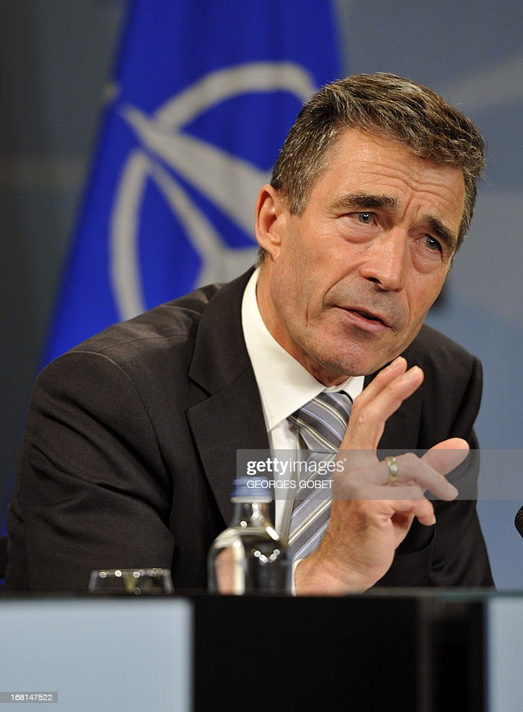 Secretary General Anders Fogh Rasmussen gives a press conference on May 6, 2013 at the Residence Palace press room in Brussels. 'it's very important that UN inspectors get full and free access to Syria to investigate what has actually happened and it is regrettable that so far the authorities have denied the UN such access' said the Secretary General.