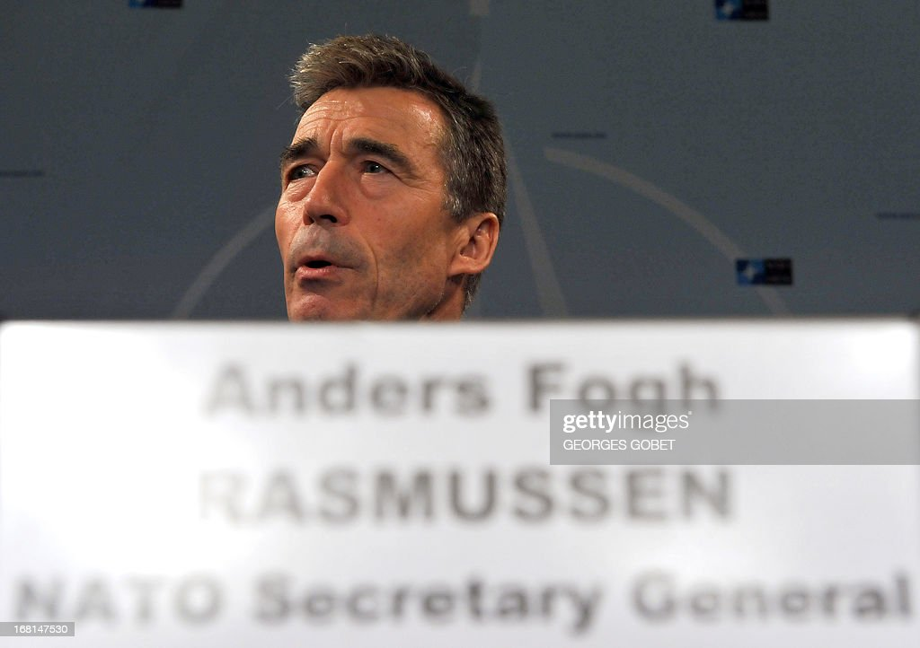 Secretary General Anders Fogh Rasmussen gives a press conference on May 6, 2013 at the Residence Palace press room in Brussels. 'it's very important that UN inspectors get full and free access to Syria to investigate what has actually happened and it is regrettable that so far the authorities have denied the UN such access' said the Secretary General. GOBET