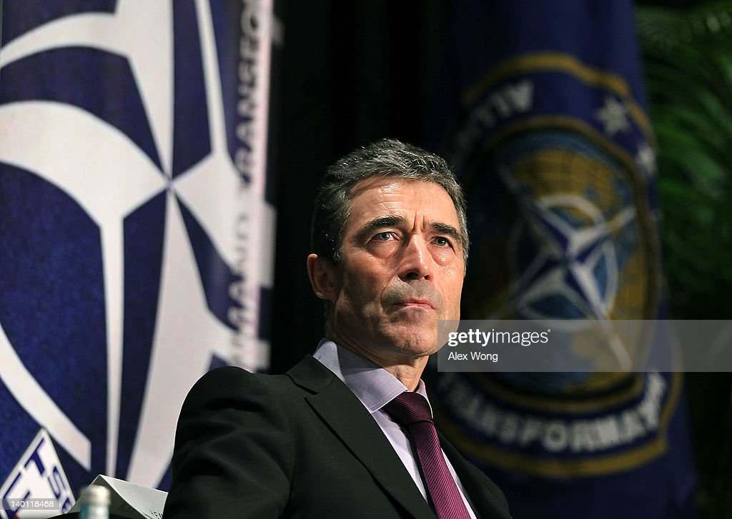 Secretary General <a gi-track='captionPersonalityLinkClicked' href=/galleries/search?phrase=Anders+Fogh+Rasmussen&family=editorial&specificpeople=549374 ng-click='$event.stopPropagation()'>Anders Fogh Rasmussen</a> listens during a seminar on Supreme Allied Commander Transformation (SACT) February 28, 2012 in Washington, DC. Rasmussen discussed various issues including NATO operations in Afghanistan and the upcoming NATO Summit in Chicago in May, 2012.