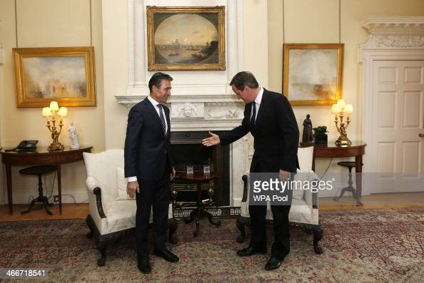 Secretary General Anders Fogh Rasmussen meets with British Prime Minister David Cameron at 10 Downing Street on February 3 2014 in London England...