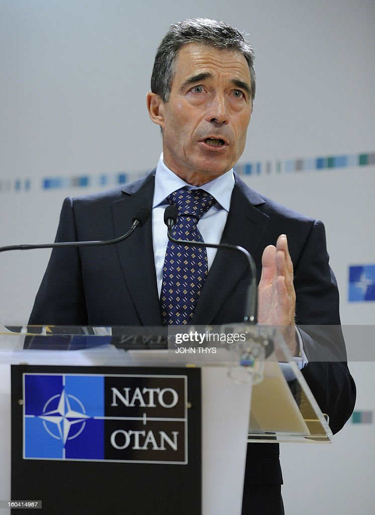 Secretary General Anders Fogh Rasmussen presents the 2012 annual report at the NATO headquarters in Brussels on January 31, 2013. AFP PHOTO/JOHN THYS