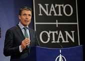 Secretary General Anders Fogh Rasmussen speaks during a joint press conference after a Foreign Affairs meeting at the NATO Headquarters in Brussels...