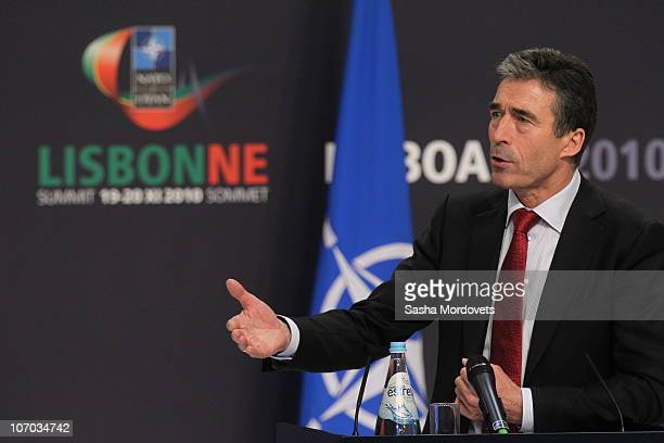 Secretary General Anders Fogh Rasmussen speaks during a press conference during day two of the NATO Summit at Feira Internacional de Lisboa on...