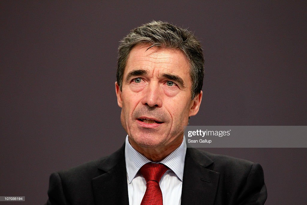 Secretary General <a gi-track='captionPersonalityLinkClicked' href=/galleries/search?phrase=Anders+Fogh+Rasmussen&family=editorial&specificpeople=549374 ng-click='$event.stopPropagation()'>Anders Fogh Rasmussen</a> speaks to the media during a press conference on day two of the NATO summit at Feira Internacional de Lisboa (FIL) on November 20, 2010 in Lisbon, Portugal. The two day summit will address issues including a new strategic concept for NATO. Britain and the US will also seek an agreement to hand over responsibility for security in Afghanistan to local forces over the next four years.