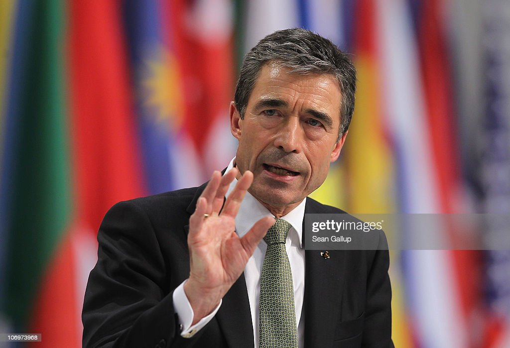 Secretary General <a gi-track='captionPersonalityLinkClicked' href=/galleries/search?phrase=Anders+Fogh+Rasmussen&family=editorial&specificpeople=549374 ng-click='$event.stopPropagation()'>Anders Fogh Rasmussen</a> speaks to the media following the first day of meetings at the NATO Summit on November 19, 2010 in Lisbon, Portugal. The two-day summit will address issues including a new strategic concept for NATO. Britain and the US will also seek an agreement to hand over responsibility for security in Afghanistan to local forces over the next four years.