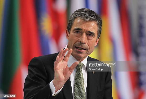 Secretary General Anders Fogh Rasmussen speaks to the media following the first day of meetings at the NATO Summit on November 19 2010 in Lisbon...
