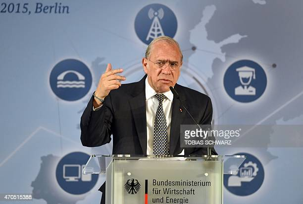 Secretary General Angel Gurria makes a point during his speech at the Investment Congress in Berlin on April 21 2015 Part of the sentence in the...