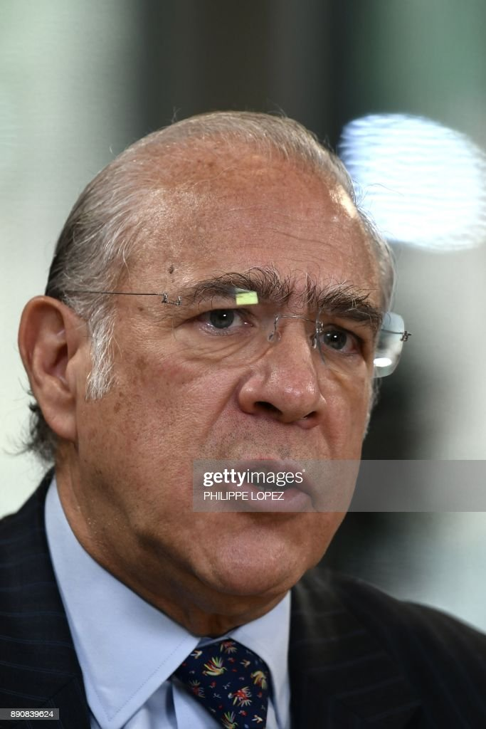 Secretary General Angel Gurria, speaks during the One Planet Summit on December 12, 2017 at La Seine Musicale venue on l'ile Seguin in Boulogne-Billancourt, west of Paris. ?The French President hosts 50 world leaders for the 'One Planet Summit', hoping to jump-start the transition to a greener economy two years after the historic Paris agreement to limit climate change.