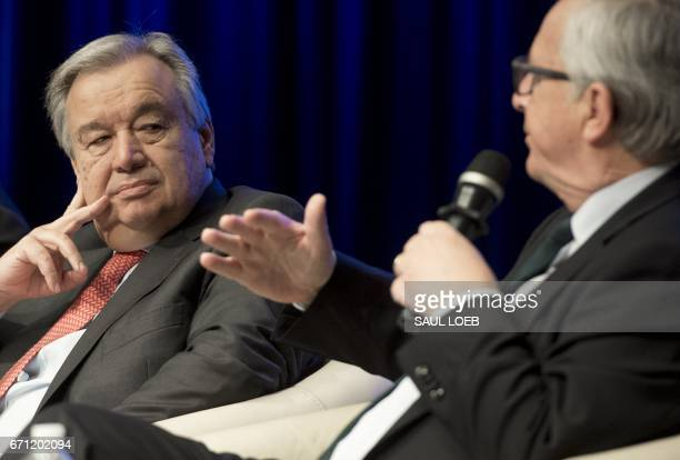UN Secretary General Antonio Guterres and European Commission President JeanClaude Juncker attend a panel discussion 'Financing For Peace Innovations...