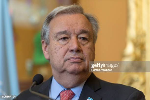 Secretary General Antonio Guterres listens to a question during the joint press conference with Portugal's Minister of Foreign Affairs Augusto Santos...