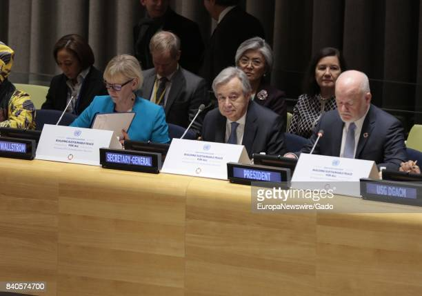 Secretary General Antonio Guterres Margot Wallstrom Minister for Foreign Affairs of Sweden and President of the Security Council for January and PGA...